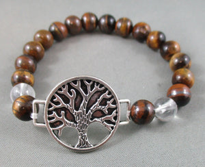 Tiger Eye / Quartz Bracelet with Tree of Life Charm 1pc T596