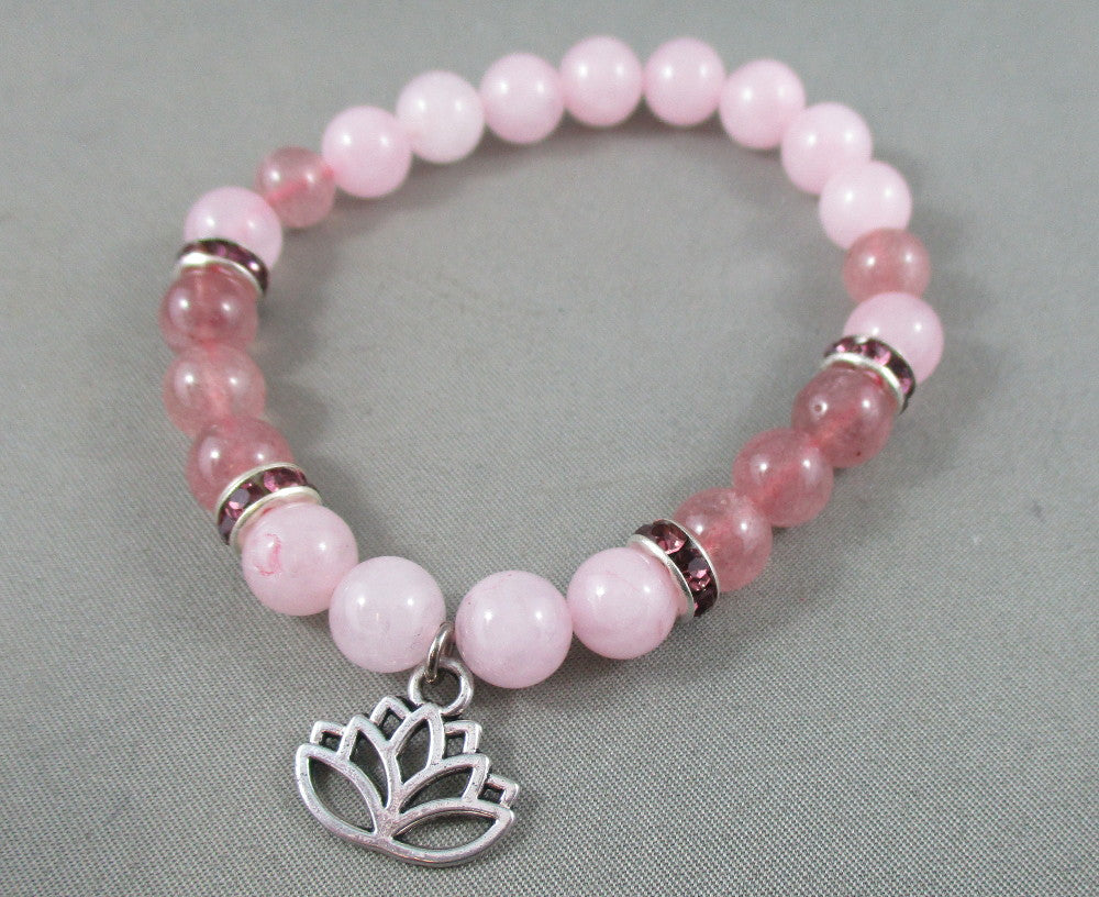 Rose Quartz / Strawberry Quartz Bracelet with Lotus Charm 1pc T597