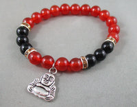Black Onyx / Carnelian Bracelet with Buddha Charm 1pc T598
