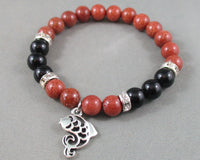 Black Onyx / Goldstone Bracelet with Fish Charm 1pc T599