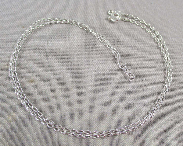 "1.4mm Long Curb Chain 18"" Sterling Silver 925 (Z110)"