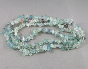 "Rainbow Fluorite Beads Chip Strand 36"" Med (0007)"