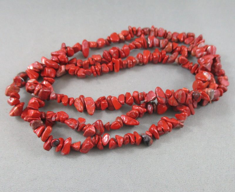 "Red Jasper Beads Chip Strand 36"" Med (0012)"