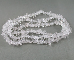 "Clear Quartz Beads Chip Strand 36"" Med (0023)"