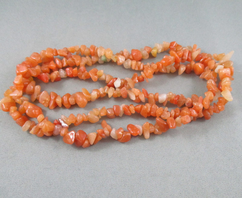 "Red Aventurine Beads Chip Strand 36"" Med (1125)"