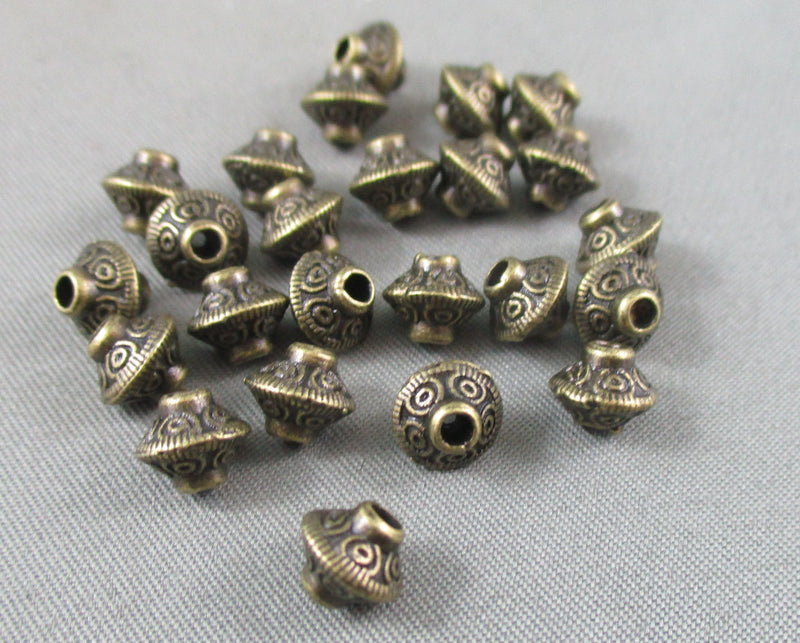 Antique Bronze Bali Bicone Spacer Beads 6.6x6.5mm 24pcs (0037-2)