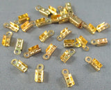 Folding Cord Ends Gold Tone 100pcs (0059)