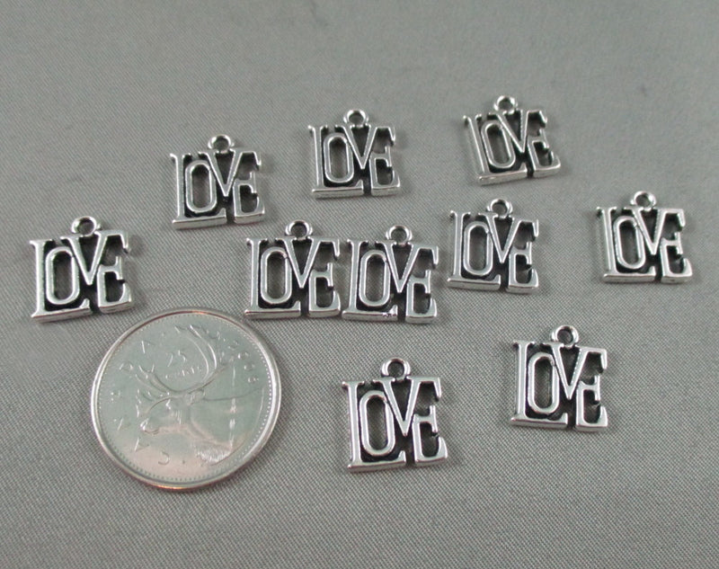 Love Charms Silver Tone 10pcs (0086-2)