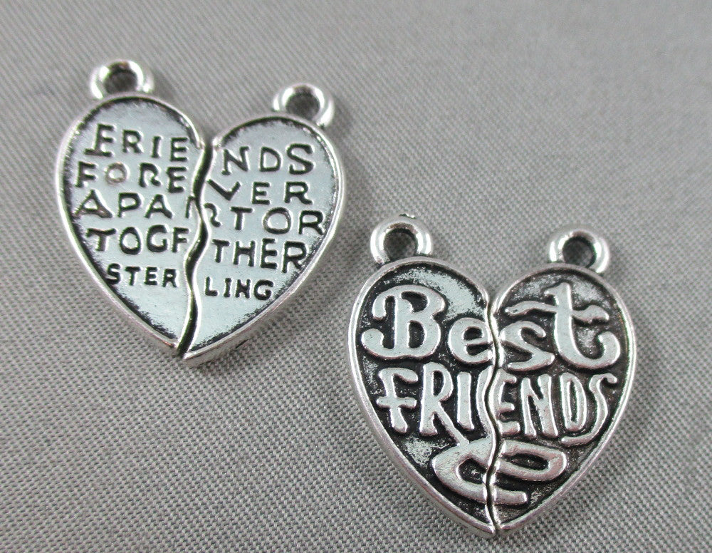 Best Friends Split Charms Silver Tone 2 pairs (0087)