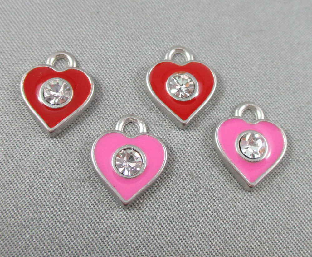 Enamel Heart Charm with Rhinestone (Pink/Red) 4pcs (0088)