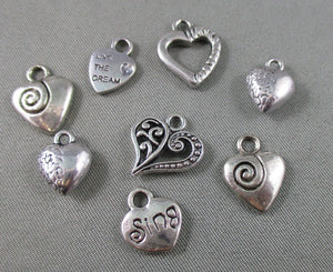 Heart Charm Silver Tone Mixed 8pcs (0123-1)
