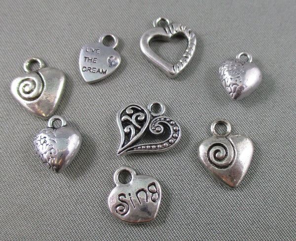 Heart Charm Silver Tone Mixed 8pcs (1277)