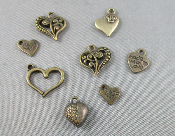 Heart Charm Antique Bronze Tone Mixed 8pcs (0123-2)