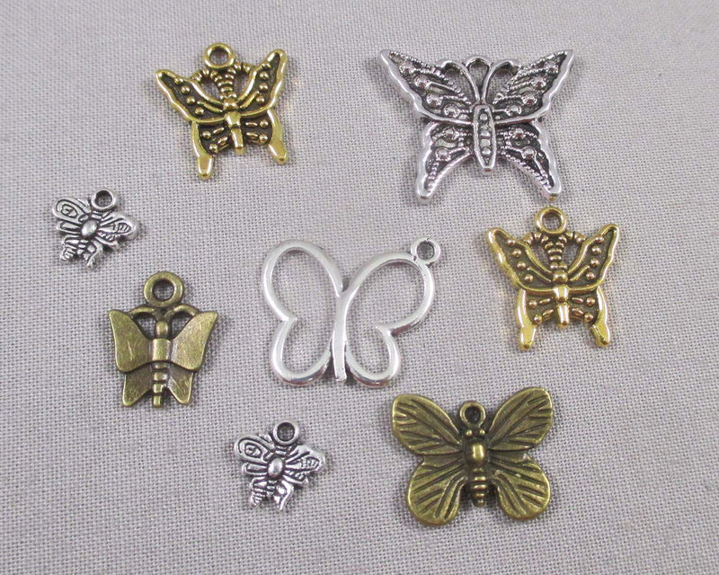 Butterfly Charm Mixed Colors 8pcs (0887*)