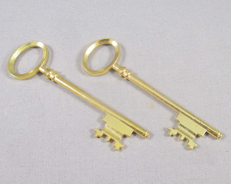Skeleton Key Charm Gold Tone 2pcs (0736*)