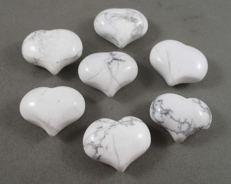 White Howlite Stone Heart 1pc (1185)