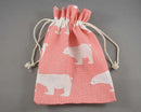 Pink with White Bears Bag for Gemstones 18x13cm 1pc A060
