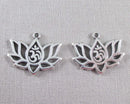 Lotus Flower Charm with Om Symbol Silver 14pcs (2001)