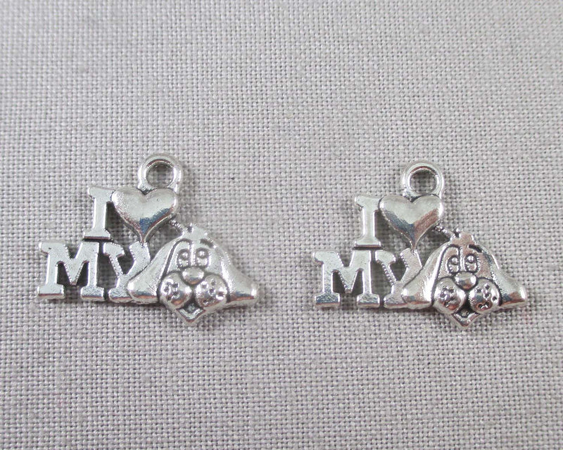 I Love My Dog Charms Silver Tone 20pcs (0795*)