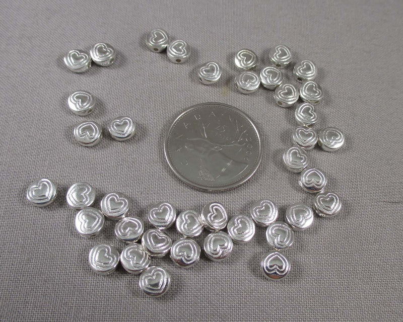 Silver Tone Flat Round Heart Spacer Beads 6x3mm 30pcs (1343)