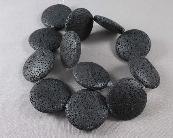 "Flat Round Black Lava Beads Waxed 33mm (15"" strand) 0912-1*"