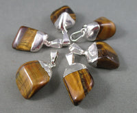 Tigers Eye Pendant - Silver Plated 1pc R147
