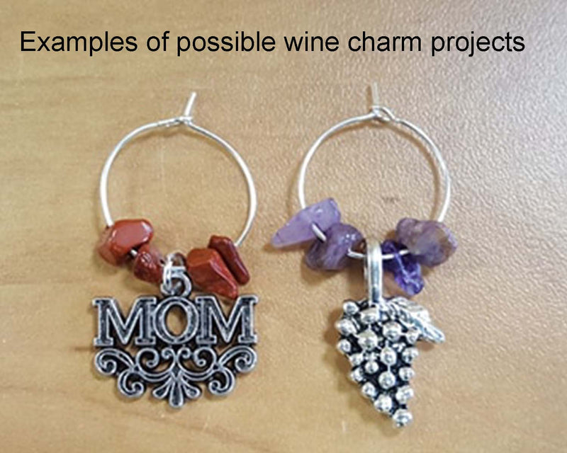 Wine Charm Hoops Silver Tone 20mm 18pcs (0766)