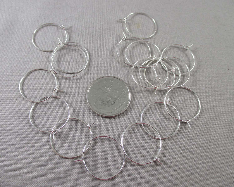 Wine Charm Hoops Silver Tone 20mm 18pcs (1474)
