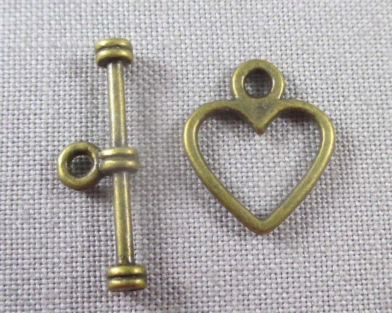 Heart Shaped Toggle Clasp Antique Bronze 20 sets (0784-3*)