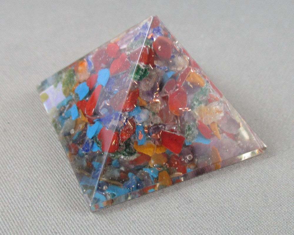 Multi-Color Orgonite Pyramid 1pc B021-3
