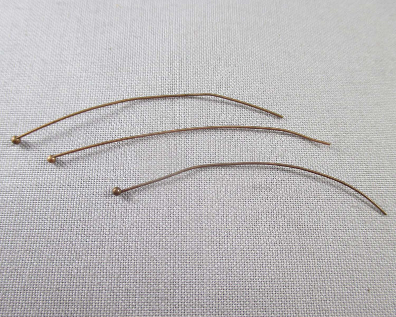 Red Copper Tone Head Pins 0.5x50mm 100pcs (0598-5*)