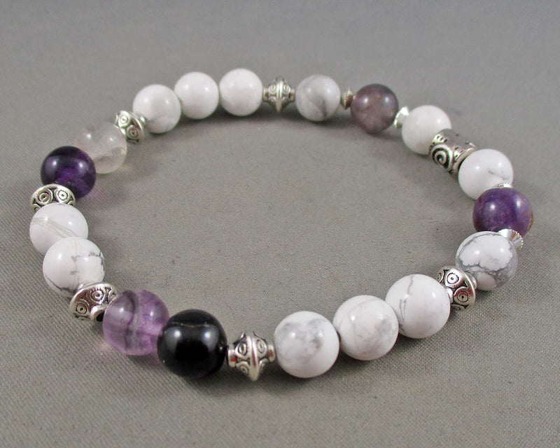 howlite and fluorite gemstone bracelet
