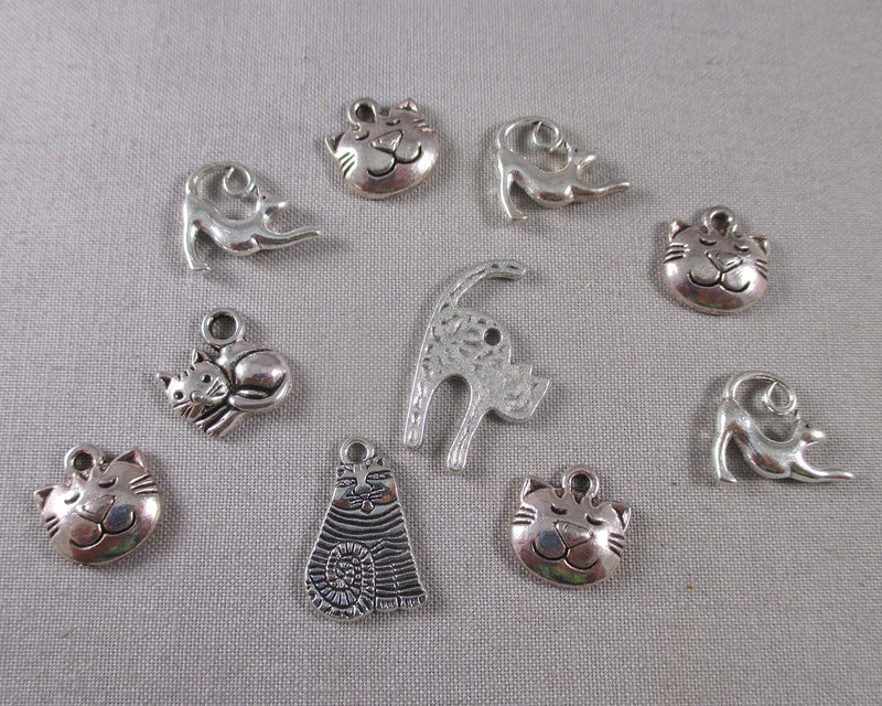 Cat Charms Mixed Silver Tone 10pcs (1667)