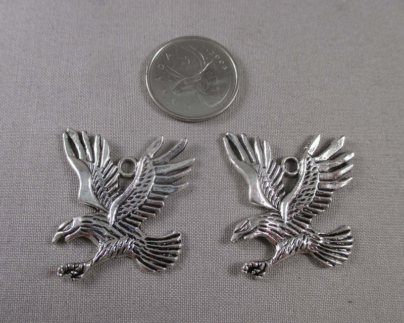 Eagle Charms Silver Tone 2pcs (1787)