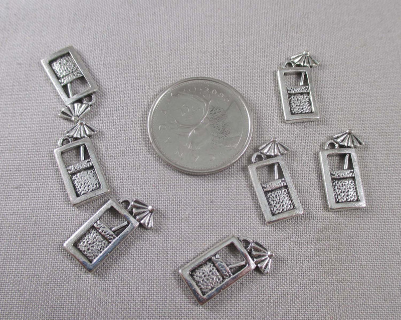 Cocktail Cup Charms Silver Tone 14pcs (0764)