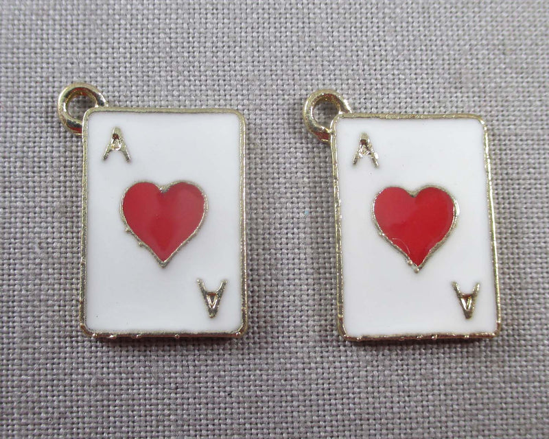 Ace of Hearts Charm Gold Tone Enamel 3pcs (0917)