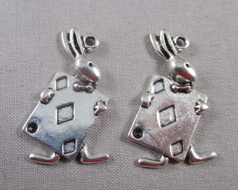 Rabbit Holding Playing Card Charm Silver Tone 3pcs (0919)