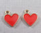 Red Hearts Charm Gold Tone Enamel 6pcs (1721)