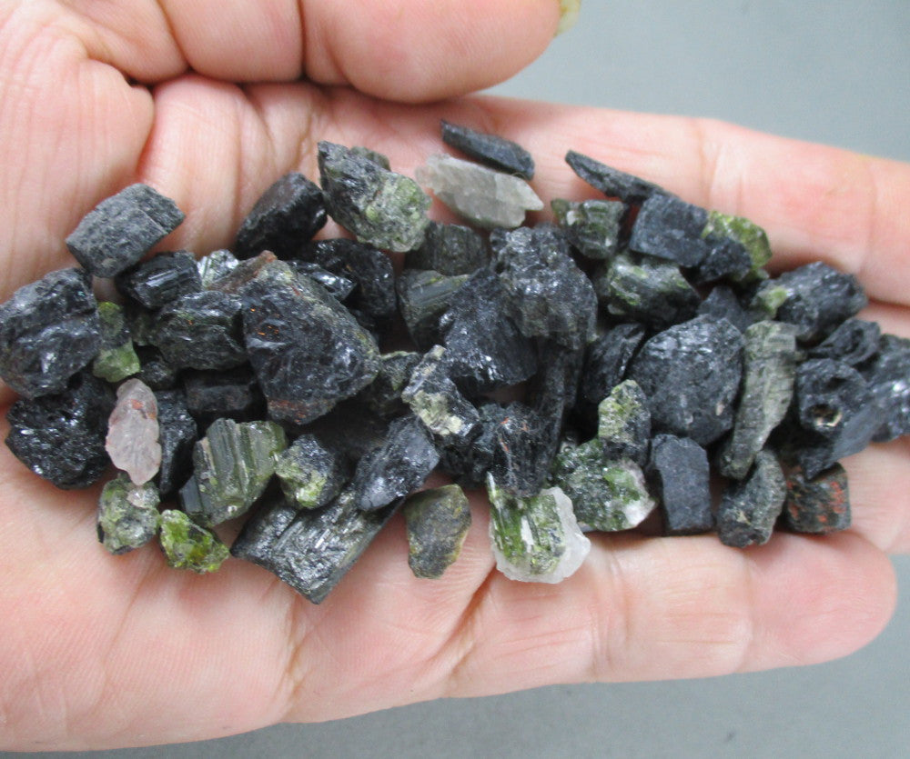 black and green tourmaline crystals