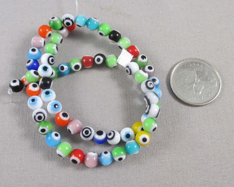 Greek Evil Eye Beads Round (Mixed Colors) Various Sizes