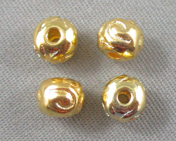 Gold Tone Rondelle Tibetan Spacer Beads 4.5x5.5mm 40pcs (0524)