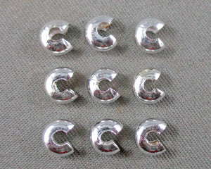 Crimp Bead Covers Silver Tone 4mm 80pcs (0475-2)