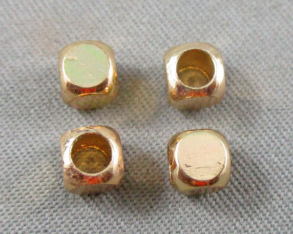 Gold Tone Square Spacer Beads Brass 4mm 10pcs (0467)