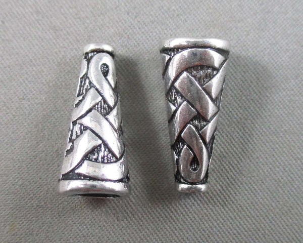 Silver Tone Celtic Cone Caps 10pcs 18x8mm (0571-1)