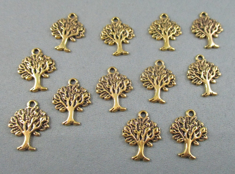 Tree Charm Gold Tone 12pcs (1380)