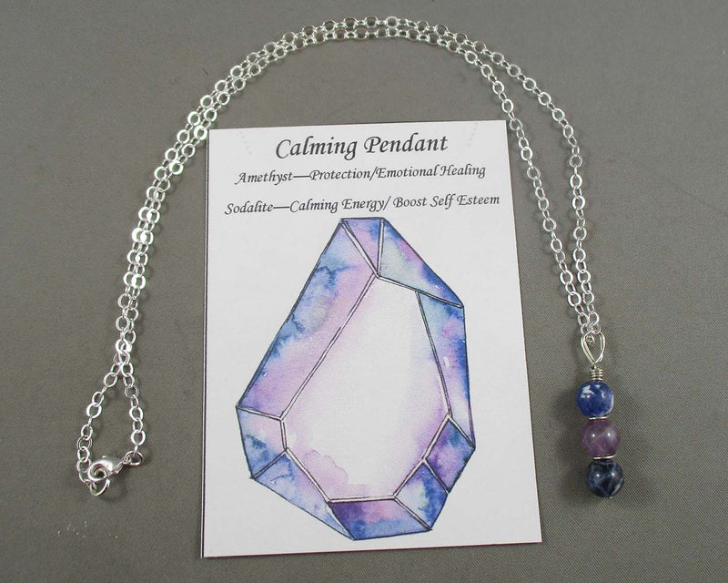 Calming Gemstone Pendant 1pc (Silver or Gold Chain)
