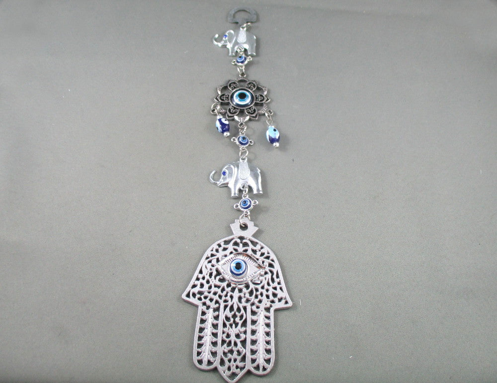 evil eye elephant wall hanging