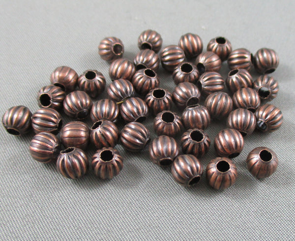 Red Copper Tone Corrugated Round Spacer Beads 6mm 40pcs (0166)