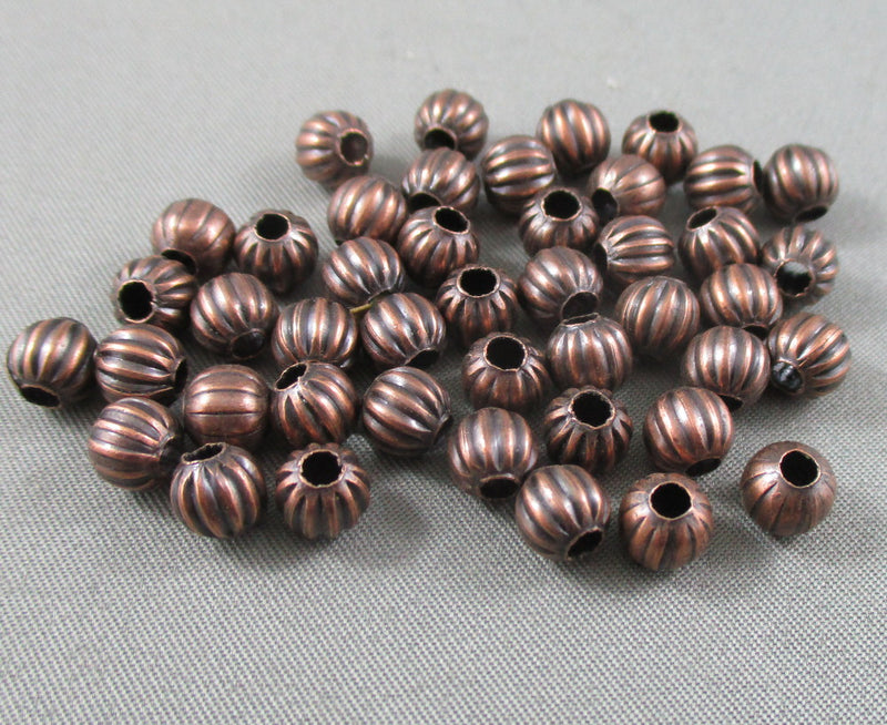 Red Copper Tone Corrugated Round Spacer Beads 6mm