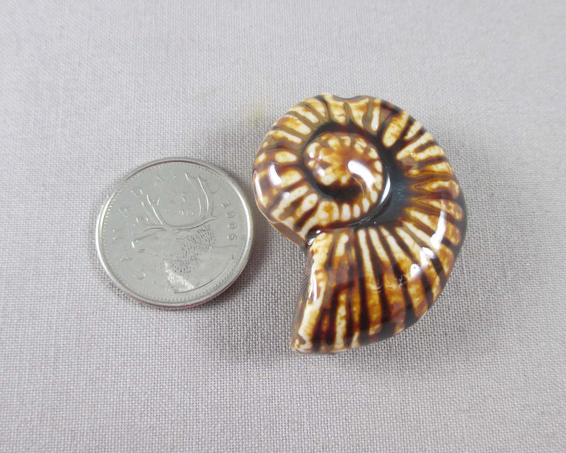 Ammonite Shell Bead Brown Porcelain 1pc (0914)